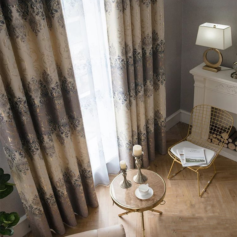 Damascus Fabric Fine Embroidery Contrast Color Curtain in Living Room